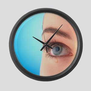 with a tear-drop - Large Wall Clock