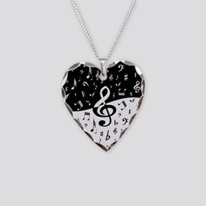 Stylish random musical notes Necklace Heart Charm