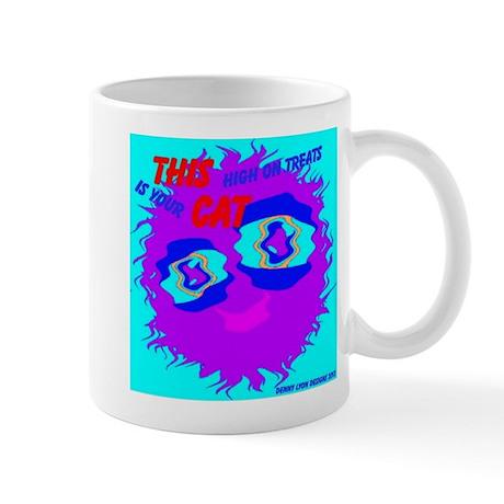 Monster Cat High on Treats Mug