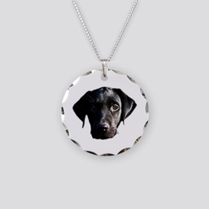 Black lab Necklace Circle Charm