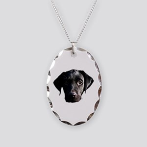 Black lab Necklace Oval Charm