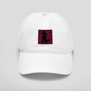 Poodle Silhouette on Pink and Black Damask Basebal