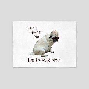 Funny In-Pug-nito! Pug Dog 5'x7'Area Rug