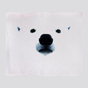 Polar Bear Face Throw Blanket