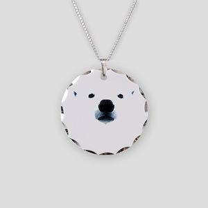 Polar Bear Face Necklace Circle Charm