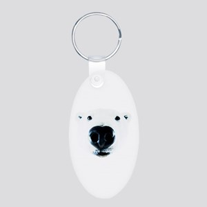 Polar Bear Sniff Aluminum Oval Keychain