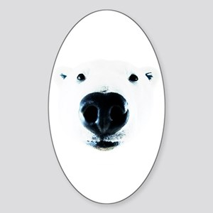 Polar Bear Sniff Sticker (Oval)