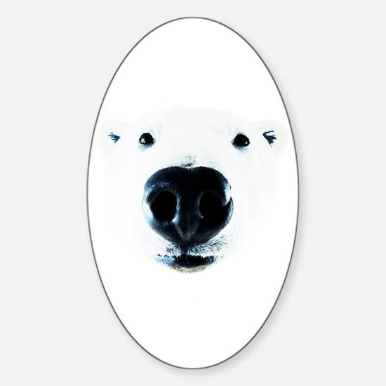 Polar Bear Sniff Sticker (Oval)