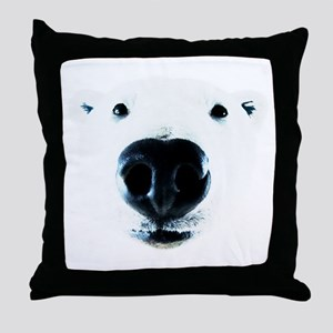 Polar Bear Sniff Throw Pillow