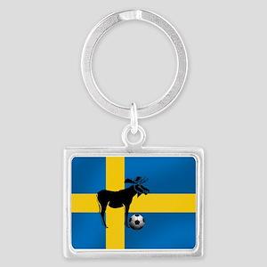 Swedish Soccer Elk Flag Landscape Keychain