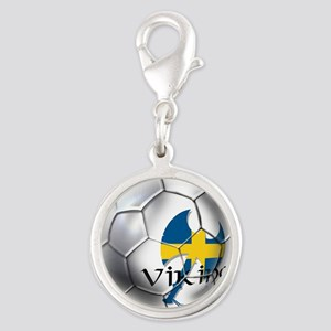 Sweden Soccer Ball Silver Round Charm