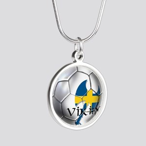 Sweden Soccer Ball Silver Round Necklace