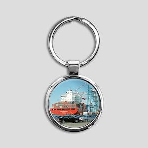 Container ship - Round Keychain