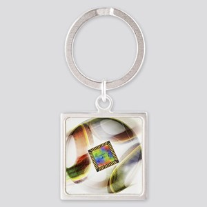 Football with chip - Square Keychain