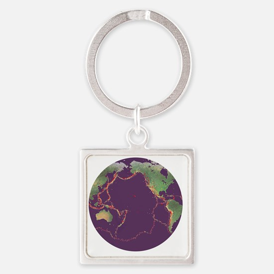 Pacific Ring of Fire - Square Keychain