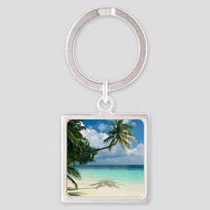 Tropical beach - Square Keychain