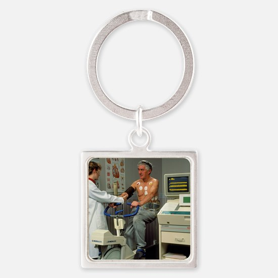 ECG stress test on male patient - Square Keychain