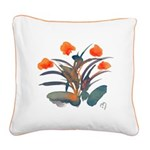 Red and Grey Atom Flowers #34 Square Canvas Pillow