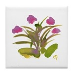 Lilac and Green Atom Flowers #34 Tile Coaster