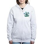 Turquoise and Green Atom Flowers #34 Zip Hoody