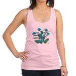 Turquoise and Green Atom Flowers #34 Racerback Tan