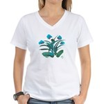 Turquoise and Green Atom Flowers #34 T-Shirt