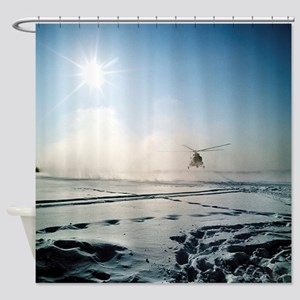 Helicopter landing on snow - Shower Curtain
