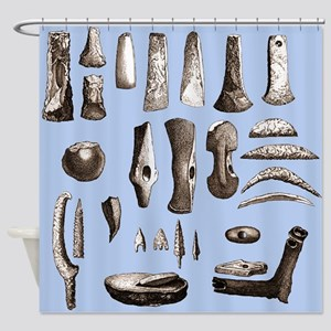 Prehistoric stone tools - Shower Curtain
