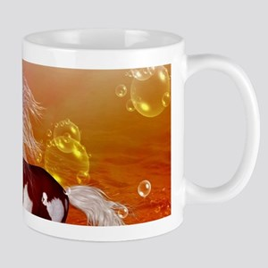 Beautiful horse on the beach in the night Mugs