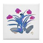 Purple and Fuschia Atom Flowers #34 Tile Coaster