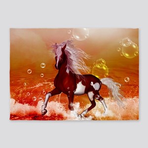 Beautiful horse on the beach in the night 5'x7'Are
