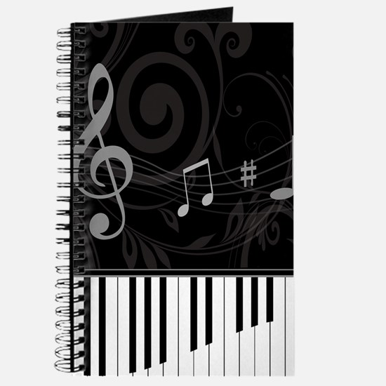 Whimsical Piano and musical notes Journal