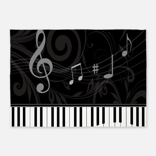 Whimsical Piano and musical notes 5'x7'Area Rug