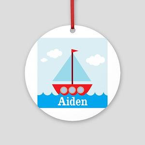 Personalizable Sailboat in the Sea Ornament (Round