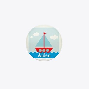 Personalizable Sailboat in the Sea Mini Button