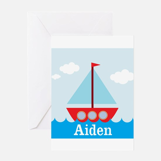 Personalizable Sailboat in the Sea Greeting Card