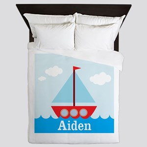 Personalizable Sailboat in the Sea Queen Duvet