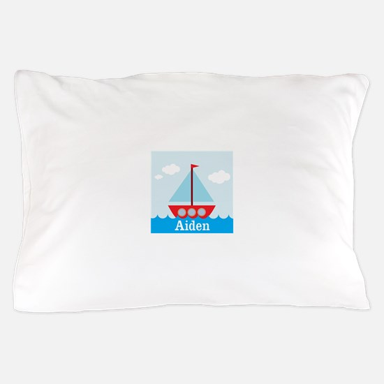 Personalizable Sailboat in the Sea Pillow Case