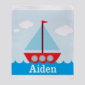 Personalizable Sailboat in the Sea Throw Blanket