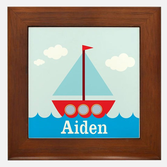 Personalizable Sailboat in the Sea Framed Tile