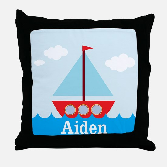 Personalizable Sailboat in the Sea Throw Pillow