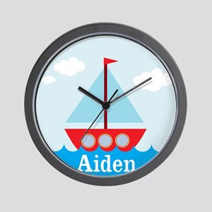 Personalizable Sailboat in the Sea Wall Clock
