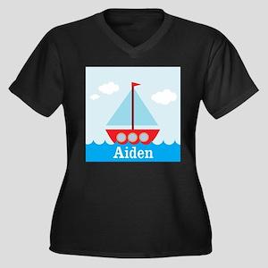 Personalizable Sailboat in the Sea Plus Size T-Shi