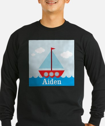 Personalizable Sailboat in the Sea Long Sleeve T-S