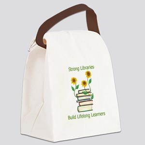Books and Sun Flowers Canvas Lunch Bag