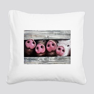 Four in a Row Square Canvas Pillow