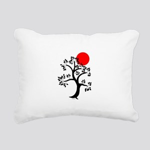 Japanese red sun tree Rectangular Canvas Pillow