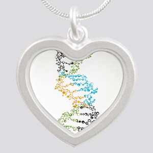 DNA Silver Heart Necklace