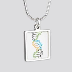 DNA Silver Square Necklace