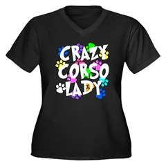 Crazy Corso Lady Women's Plus Size V-Neck Dark T-S